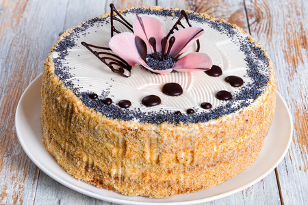 luscious: luscious poppy seeds, walnut and raisins sponge cake layered with cream and  decorated with chocolate drops and icing-sugar pink flower on white dish, view from above, close-up