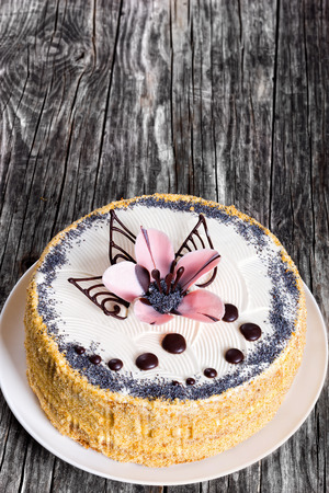 recipe decorated: luscious sponge cake layered with cream and  decorated with chocolate drops and icing-sugar beautiful pink orchids flower on white dish on dark wooden table, view from above, close-up