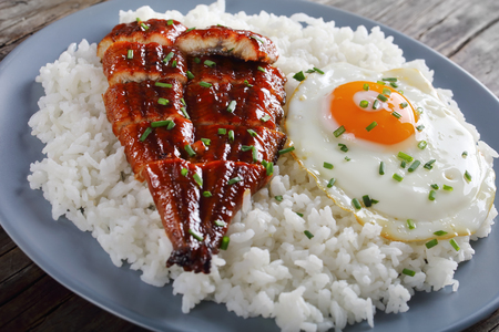 grilled unagi or eel with tare sauce sprinkled with chopped chives served with rice and fried egg on plate with chopsticks and tare sauce at background, asian cuisine, view from above, close-up