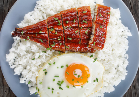 close-up of broiled unagi or eel with tare sauce sprinkled with chopped chives served with rice and sunny side up fried egg on plate, japanese cuisine, view from above