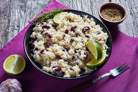 Close-up of Jamaican Rice and Red Beans cooked with coconut milk seasoned