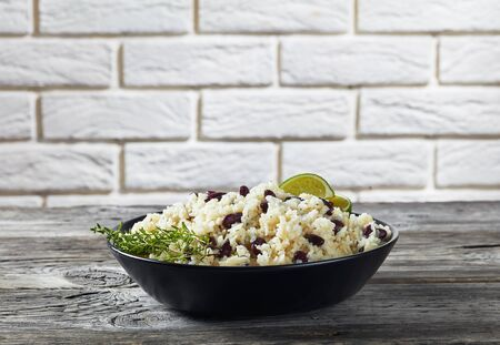 Close-up of Jamaican Rice and Red Beans cooked with coconut milk seasoned Banque d'images