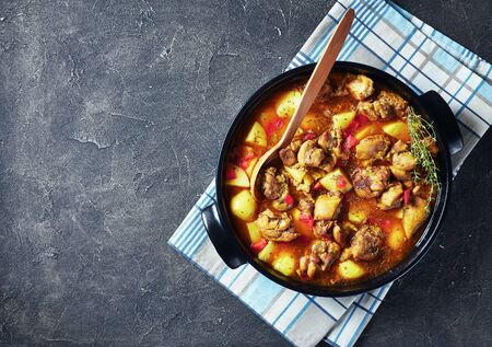 Chicken curry with potato, finely chopped red bell pepper, spices in a black ceramic pan on a concrete table Reklamní fotografie