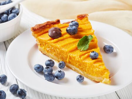a slice of pumpkin pie decorated with blueberries, orange zest and chocolate drops on a white plate on a white wooden table, view from above, close-up Stock Photo
