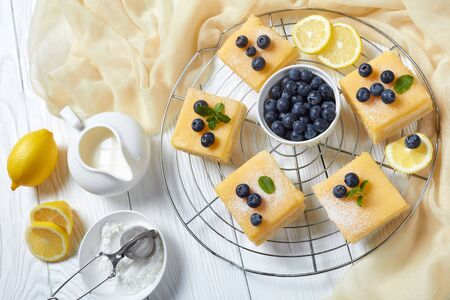 freshly baked Lemon Shortbread Squares topped with icing sugar, fresh blueberries on a metal wire rack on a white wooden table, flatlay