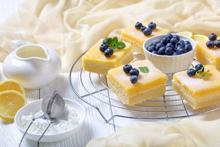 freshly baked Lemon curd shortbread bars with cheesecake layer topped with icing sugar, fresh blueberries on a metal wire rack on a white wooden table, horizontal view from above