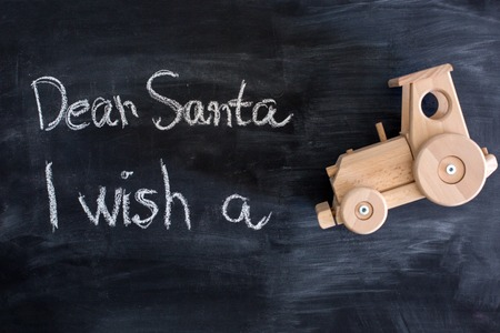 dear: Dear Santa is written on a blackboard and christmas decoration Stock Photo