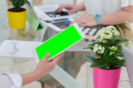 startup concept. Business project presentation on digital tablet
