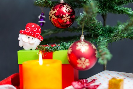 christmas decoration on tree candle joy christmas time stock photo 63737120