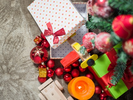 gift boxes under Christmas tree, Christmastime surprises, New Year eve concept
