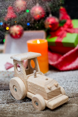 wooden toy: wooden toy. Christmas background.