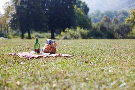 banana bread: picnic basket on green lawn Stock Photo