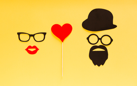 Paper people together in love on color background Stock Photo