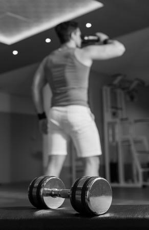 gym floor: dumbbell on the gym floor