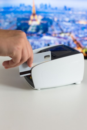 cardreader: Hand Swiping Credit Card In Store