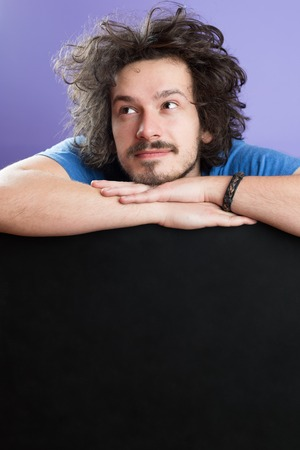 funny hair: Man Cheerful Studio Portrait Concept, man with funny hair