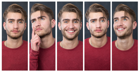 Collage picture of a one man in different poses. Young hansome man.