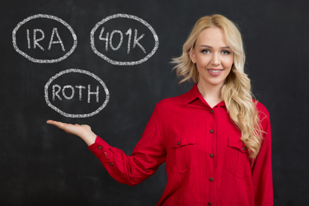 roth: Beautiful business woman with chalk on a chalkboard with word retirement, ira, 401K, roth  Understanding your retirement