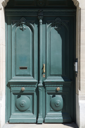 painted wood: Wood door green color. Vintage doors.
