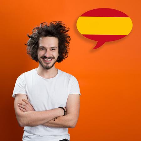 Man learn speaking spanish in bubble