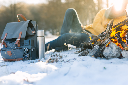 outdoor fireplace: Camping concept. Bonfire on a winter day in a wood.