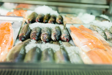 freezed: Variety of fresh fish at the local fish market. Stock Photo