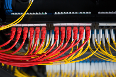 Network server room routers Stock Photo