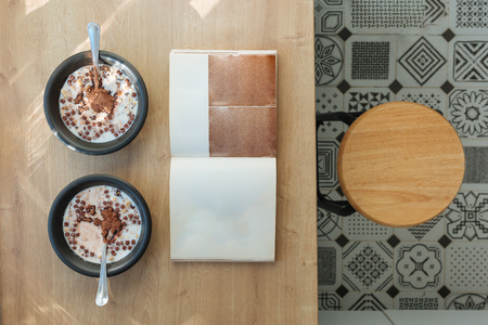 Pair of cereals on tabletop ready to eat. Love and tender concept