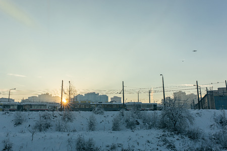 Winter landscape. Sunset time Stock Photo