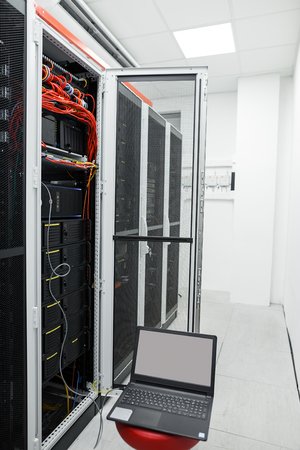 Modern interior of server room, Super Computer