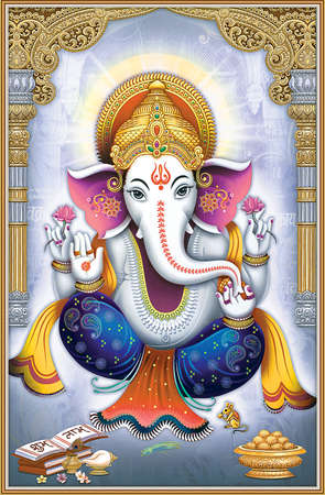 Lord Ganesha painting for wall Stock Photo