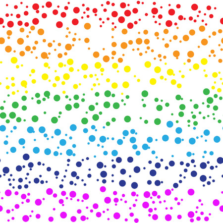 Seamless rainbow pattern with colorful confetti.