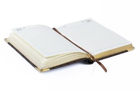 Open diary on a white background photo