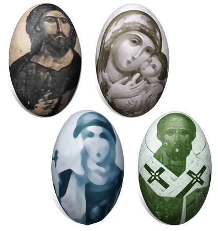 lent: A set of four Easter eggs with ornaments of saints Stock Photo
