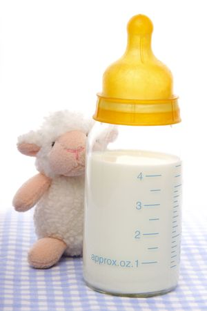 Open  milk bottle with measure and  soft toy sheep. Stock Photo - 626898