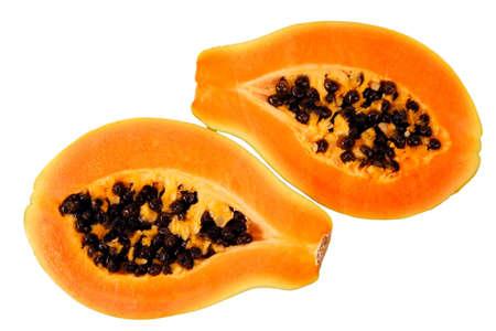 papaw: Halves of papaya. Tropical fruit.