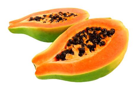 Halves of papaya. Tropical fruit.