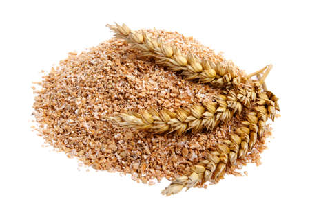 bran: Wheat bran with ears on white background. It is common ingredient of healthy meal.
