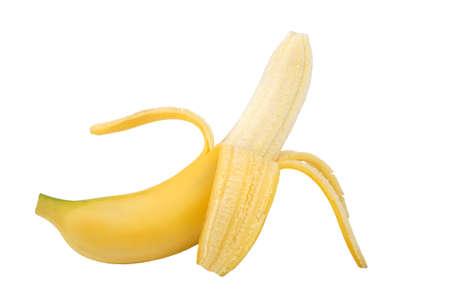 peeled banana: Peeled banana on white background. Stock Photo