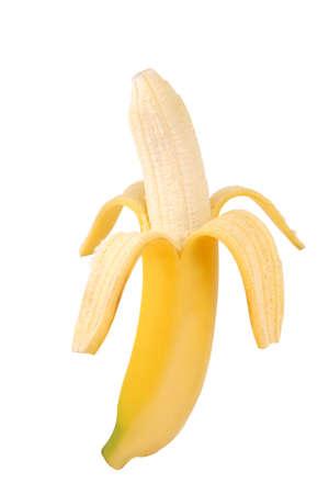 freshest: Peeled banana on white background. Stock Photo