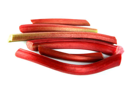 Fresh red rhubarb isolated on a white background. Stock Photo - 3176018