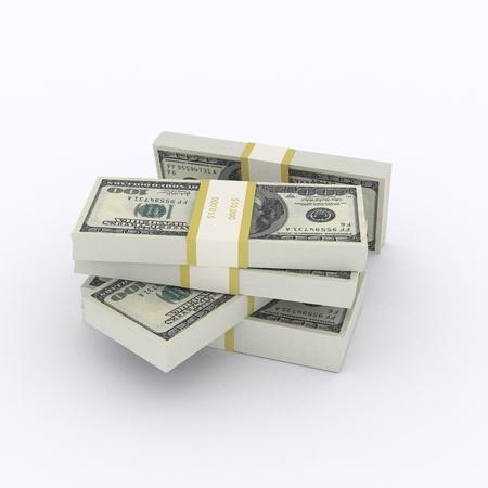 Stack of 100 dollar bills on white background Stock Photo