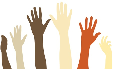 outstretched: Raised arms of diversity