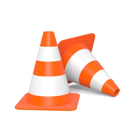 Two traffic cones isolated on a white background
