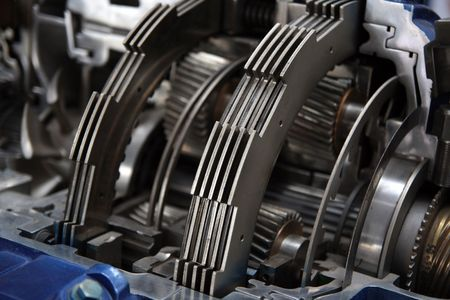 car transmission: Bus transmission cut-through view. Stock Photo