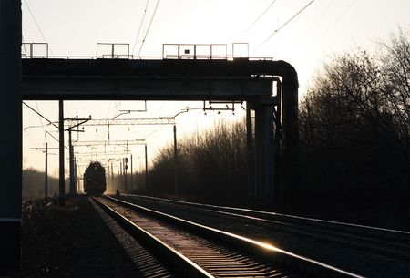 The railroad in an industrial zone.