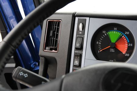 Dashboard of a chinese truck. Stock Photo