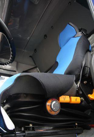wheel truck: Truck cabin interior. Driver seat.
