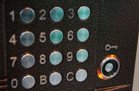 Entrance door  intercom buttons.