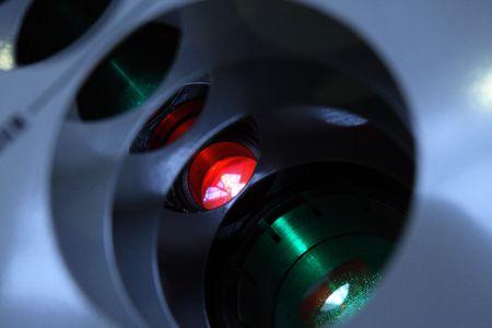 Lens of laser link system. Stock Photo